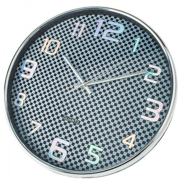 Reloj kuken negro/cromo redondo 33cm