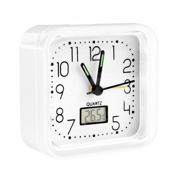 Reloj analogico alarma  82x82x38 blanco