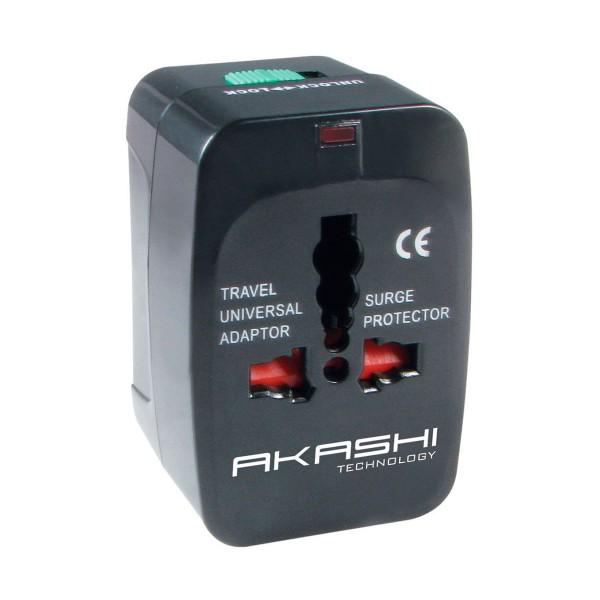 Akashi altwp100 adaptador universal de viaje negro compatible en 150 países