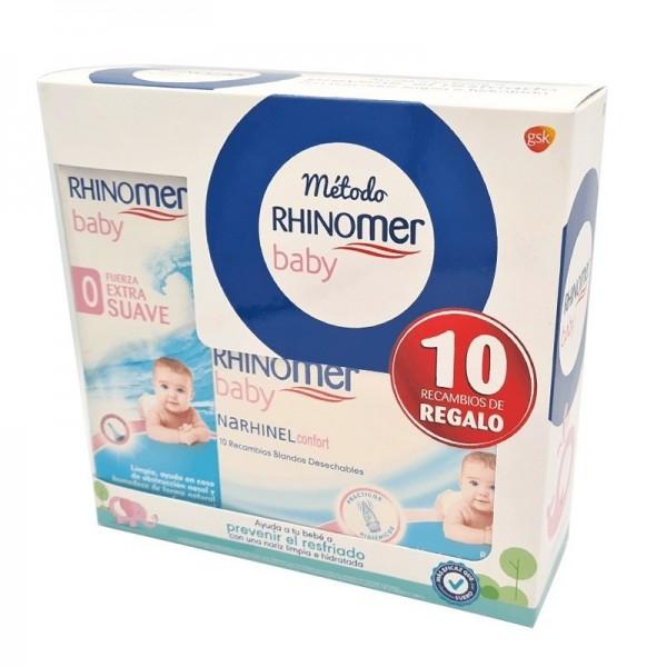 RHINOMER BABY SPRAY FUERZA 0 EXTRA SUAVE 115 ML + RHINOMER CONFORT RECAMBIOS 10 UDS PROMO